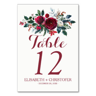 Floral winter red bouquet wedding guest table number