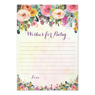 Floral Wishes For Baby Advice Cards