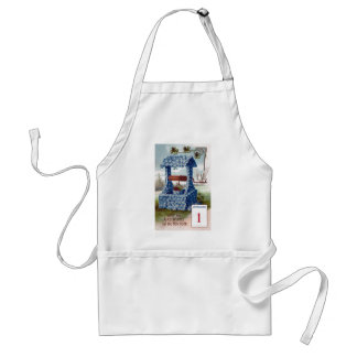 Floral Wishing Well Vintage New Year Apron