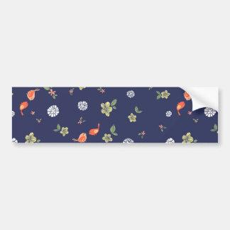Floral with Birdies on Blue Car Bumper Sticker