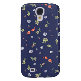 Floral with Birdies on Blue Samsung Galaxy S4 Cover