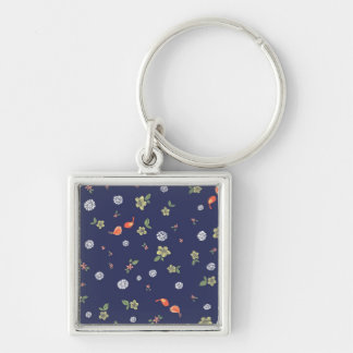 Floral with Birdies on Blue Keychain