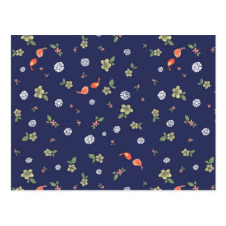 Floral with Birdies on Blue Post Card