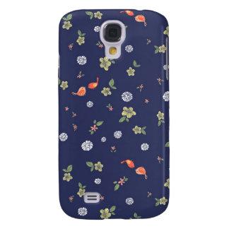 Floral with Birdies on Blue Samsung Galaxy S4 Case