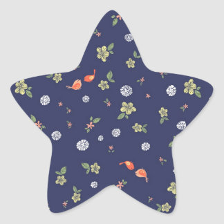 Floral with Birdies on Blue Star Stickers