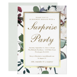 Floral with Faux Gold Frame Surprise Party Invitation