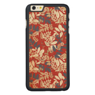 Floral with giraffe carved maple iPhone 6 plus case