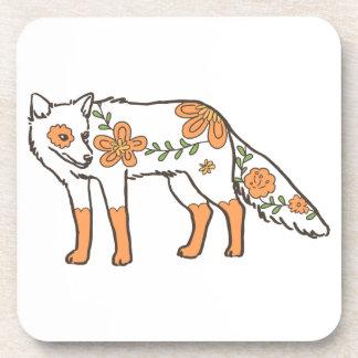 Floral Wolf Beverage Coaster