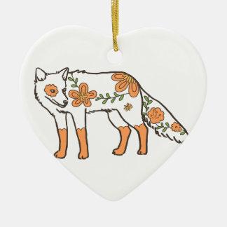Floral Wolf Ceramic Ornament