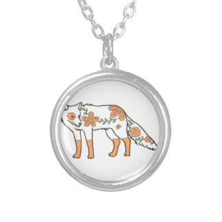 Floral Wolf Round Pendant Necklace
