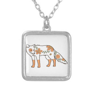 Floral Wolf Square Pendant Necklace
