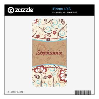 Floral Wonders Squares  IPhone Skin iPhone 4S Skin