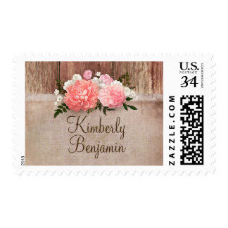 Floral Wood and Burlap Rustic Country Wedding Postage