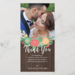 """Floral &amp; Wood Grain Wedding Photo Thank You<br><div class=""""desc"""">Photo card personalized with your own wedding photo,  adorned with a beautiful bouquet of drawn flowers. Thank you written in a gorgeous white brush script above a personal message to your wedding guests. The background is a printed wood grain texture. Add your names too!</div>"""