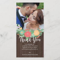 Floral & Wood Grain Wedding Photo Thank You