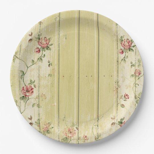 Floral \u0026 Wood Shabby Chic Paper Plate  sc 1 st  Zazzle & Floral \u0026 Wood Shabby Chic Paper Plate   Zazzle.com