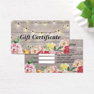 Floral Wood & String Lights Salon Gift Certificate