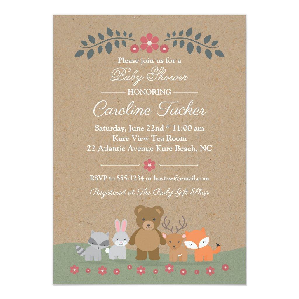 Floral Woodland Animals Baby Shower Invitation