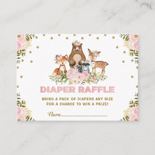 Floral Woodland Diaper Raffle Girl Baby Shower Enclosure Card