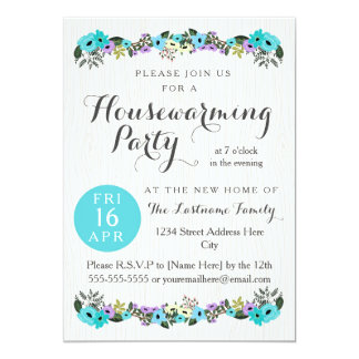 floral housewarming party invitations & announcements | zazzle, Party invitations