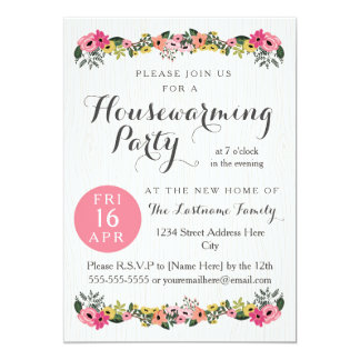 Floral Housewarming Party Invitations Announcements Zazzle