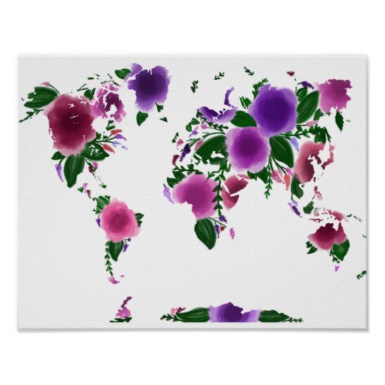 Floral world map poster zazzle floral world map poster gumiabroncs Image collections