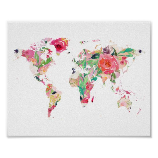 Floral world map poster zazzle floral world map poster gumiabroncs Images