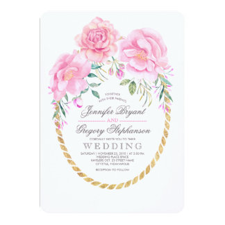 Floral Wrap Pink and Gold Boho Watercolor Elegant Card
