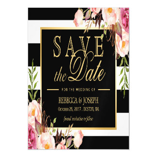 Floral Wrapped Black U0026amp; White Striped Save The Date Magnetic Card
