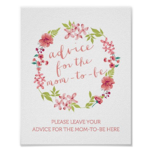 floral wreath advice for the mom to be sign poster zazzle. Black Bedroom Furniture Sets. Home Design Ideas