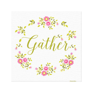 "Floral wreath art canvas with word""Gather"""