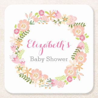 Floral Wreath Baby Shower Coasters Square Paper Coaster