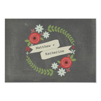 Floral Wreath & Banner Chalkboard Inspired RSVP 3.5x5 Paper Invitation Card