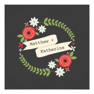 Floral Wreath Banner Gray Wedding Bride & Groom Card