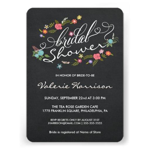Floral Wreath Blackboard Bridal Shower Invites