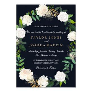 floral wreath blush navy gold wedding invitation - Navy And Gold Wedding Invitations