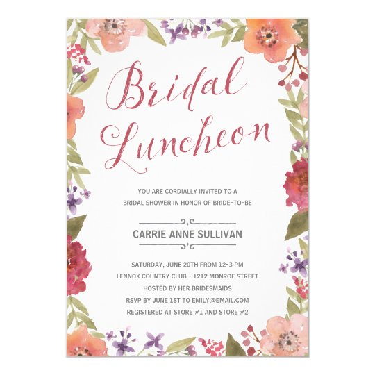 floral wreath bridal shower luncheon invitation