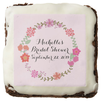 Floral Wreath Bridal Shower Square Brownie