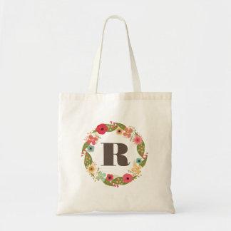 Floral Wreath Bridesmaid Monogram Canvas Bag