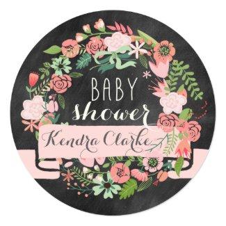 FLORAL WREATH CHALKBOARD | BABY SHOWER INVITATION