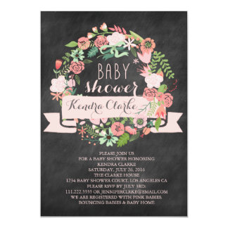 FLORAL WREATH CHALKBOARD | BABY SHOWER INVITATION