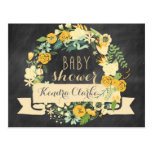 FLORAL WREATH CHALKBOARD | BABY SHOWER INVITATION POST CARDS