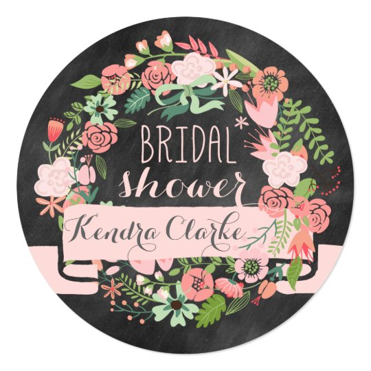 FLORAL WREATH CHALKBOARD BRIDAL SHOWER INVITATION