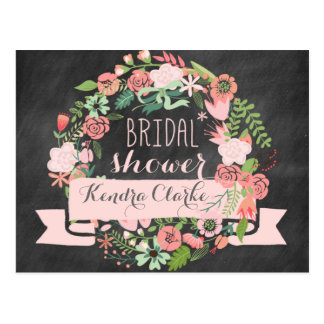 FLORAL WREATH CHALKBOARD BRIDAL SHOWER INVITATION POSTCARD