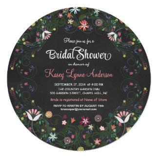 Floral Wreath Chalkboard Bridal Shower Invitations