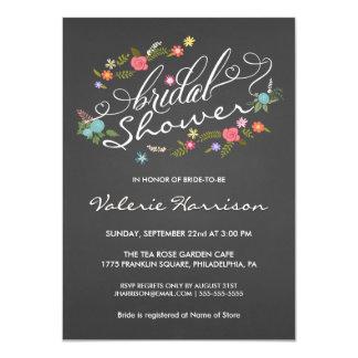 Floral Wreath Chalkboard Bridal Shower Invites