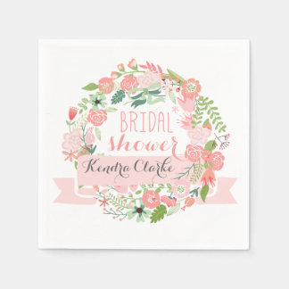 FLORAL WREATH CHALKBOARD BRIDAL SHOWER NAPKINS