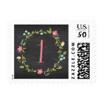 Floral Wreath Chalkboard Girl 1st Birthday Postage