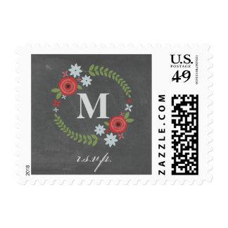 Floral Wreath Chalkboard Inspired R.S.V.P. Postage Stamp