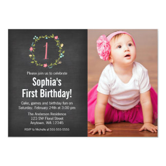 Floral Wreath Chalkboard Photo Girl 1st Birthday 4.5x6.25 Paper Invitation Card